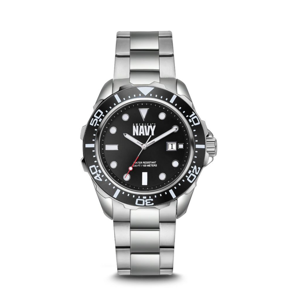 U.S. Navy C39 | Analog Display Quartz Watch with Unidirectional Rotating Bezel and Metal Bracelet