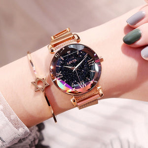 Luxury Women Watches Fashion Elegant Magnet Buckle Vibrato Purple Ladies Wristwatch 2019 New Starry Sky Roman Numeral Gift Clock - i-bazar