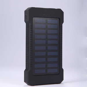 Portable Solar Power Bank 20000mah Waterproof External Battery Backup Powerbank 20000 mah Phone Battery Charger LED Pover Bank - i-bazar