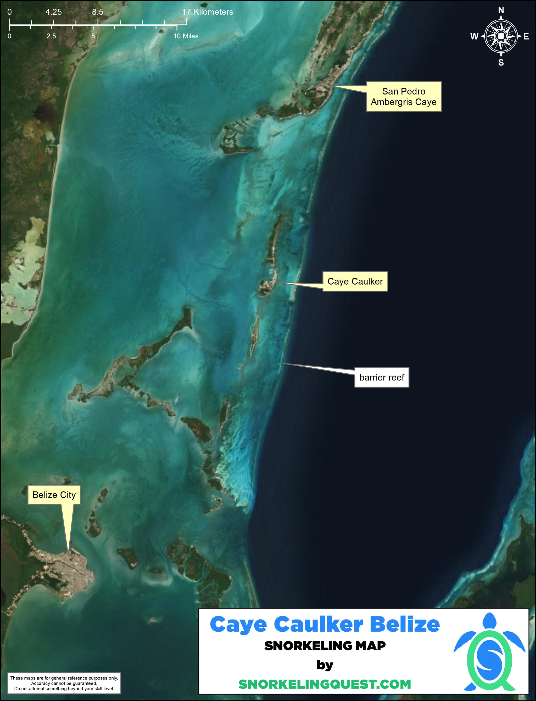Belize Snorkeling Map