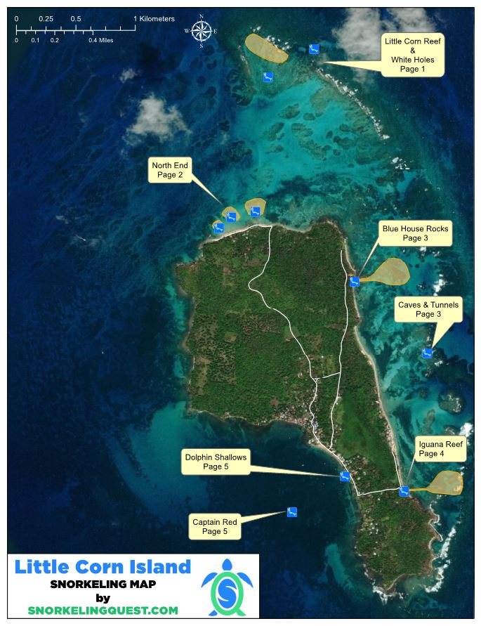 Corn Islands Snorkeling Map