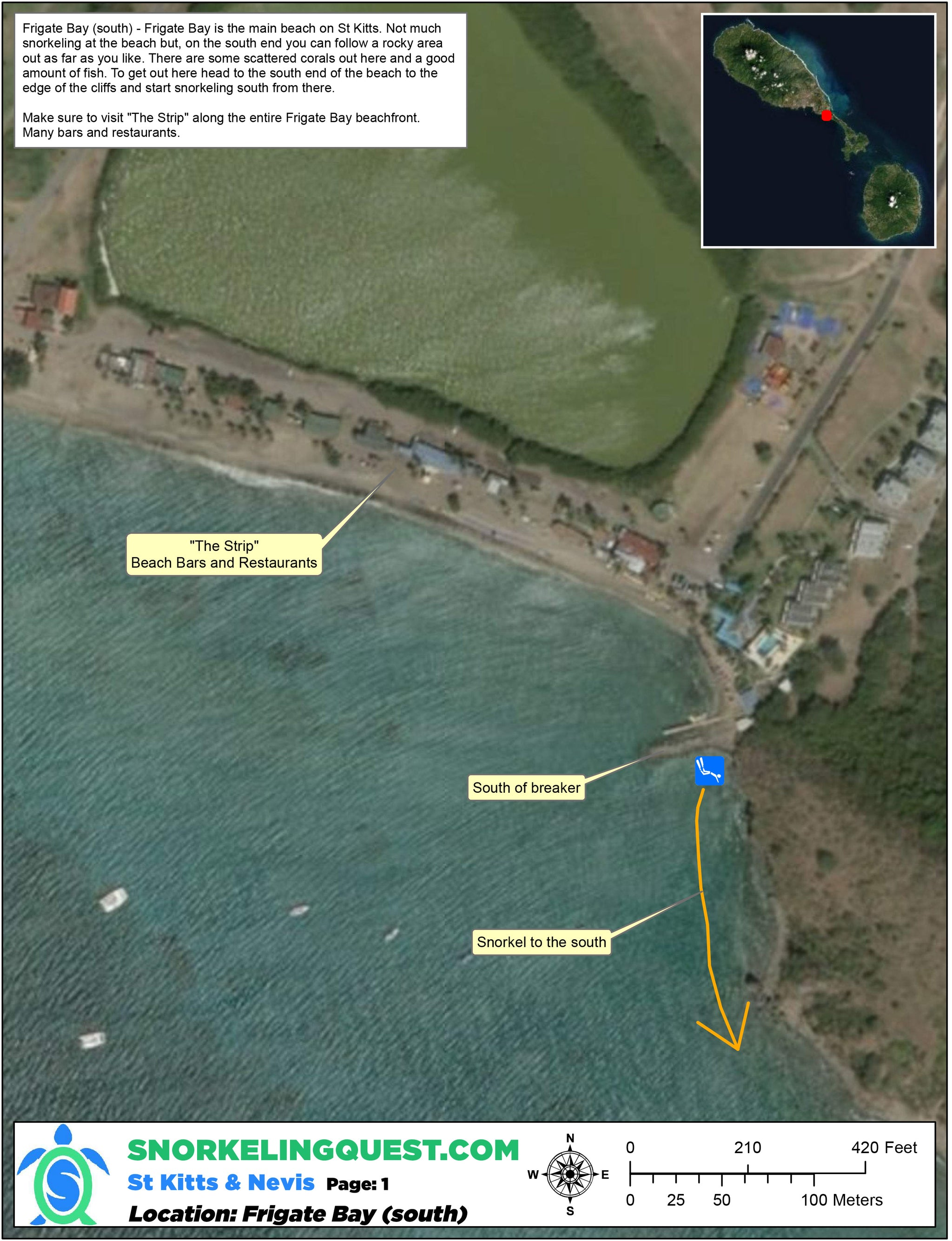 St Kitts and Nevis Snorkeling Map