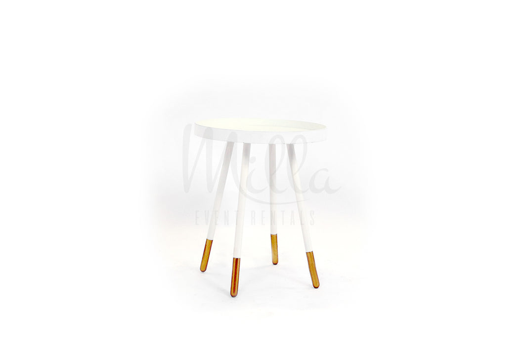 Retro White Accent Table