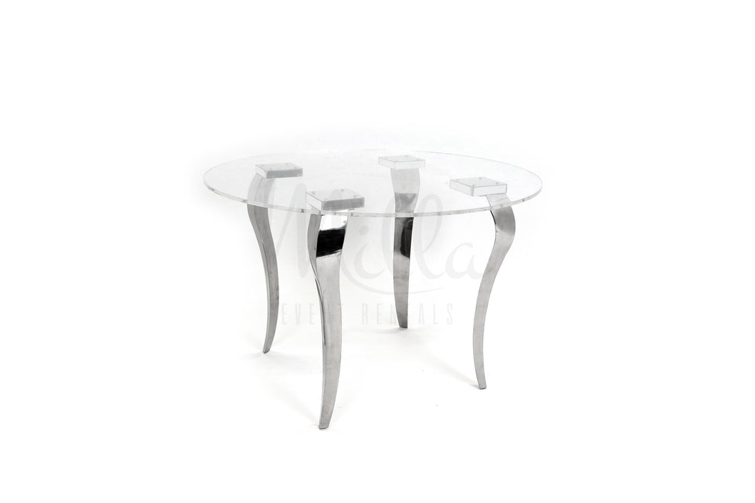 Clear Table Silver Legs 48