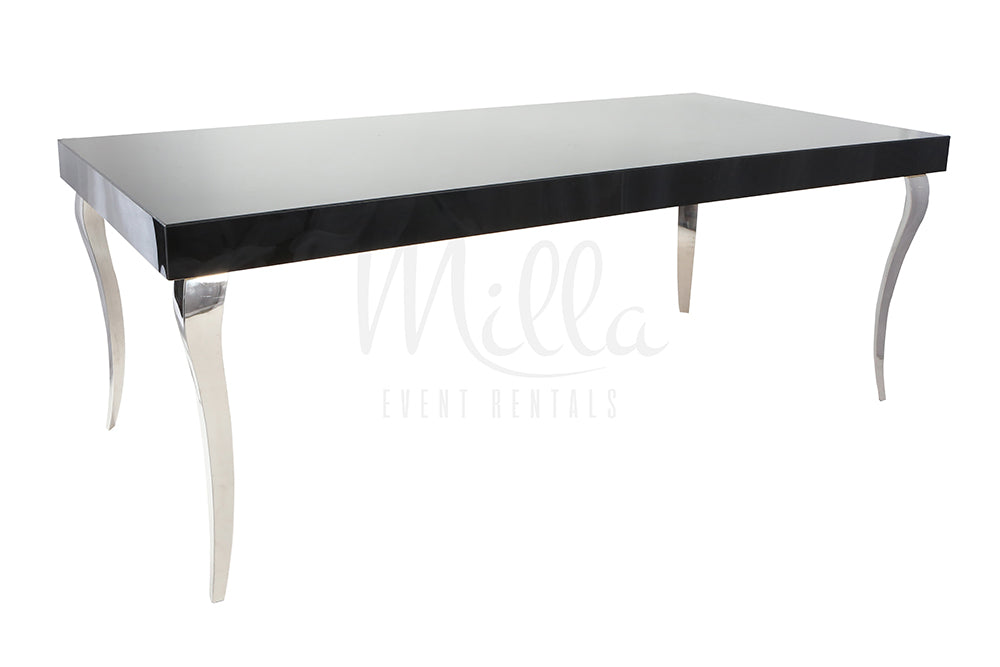 Alexa Black Table 4x8 Silver Legs
