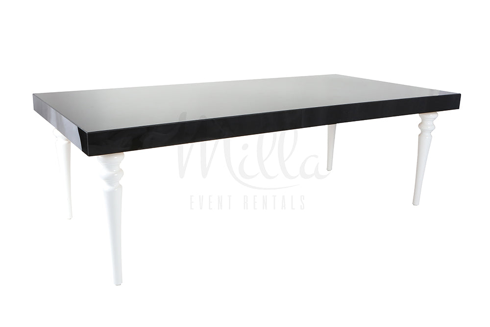Alexa Black Table 4x8 White Legs