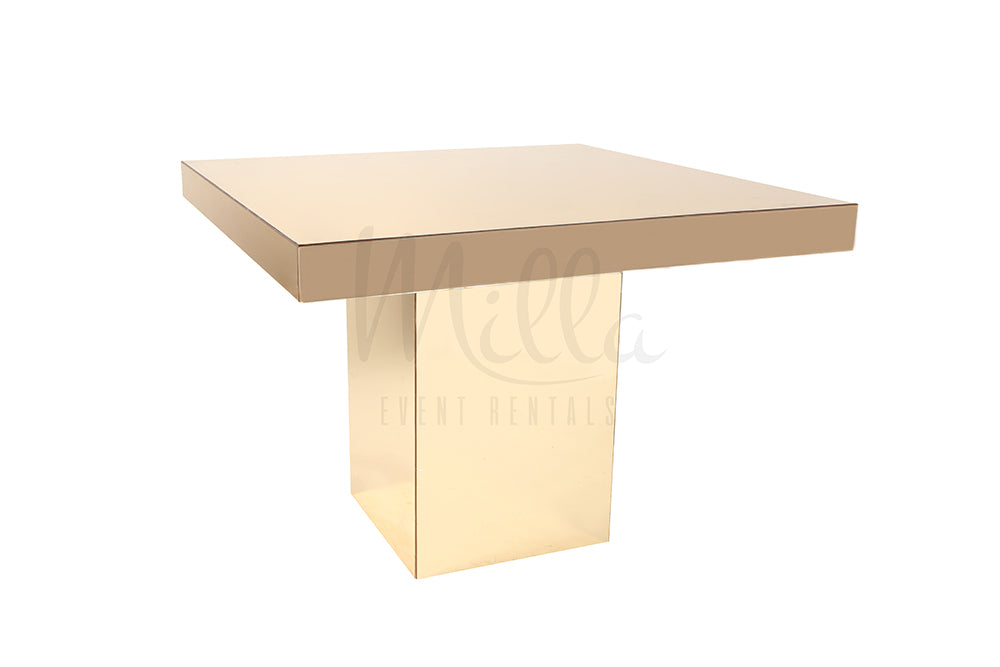 Alexa Gold Mirror Table 4x4 Gold Box Bottom