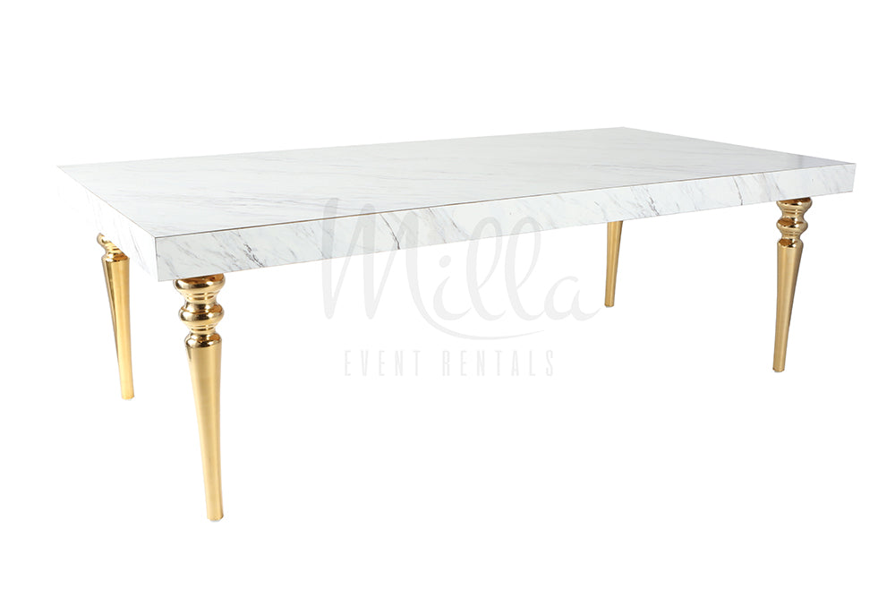 Alexa Marble Table 4x8 Gold Legs