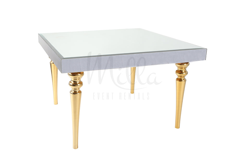 Alexa Mirror Table 4x4 Gold Legs