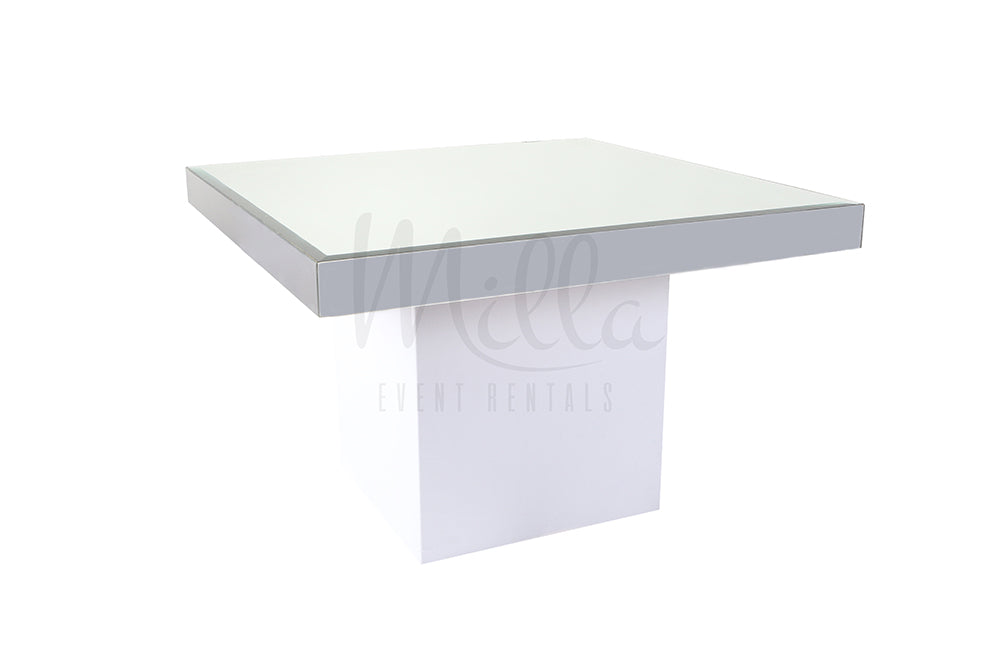 Alexa Mirror Table 4x4 White Box Bottom