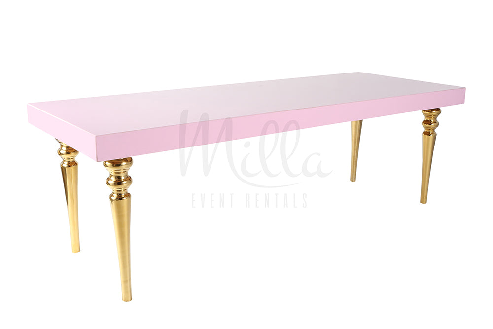 Alexa Pink Table 3x8 Gold Legs
