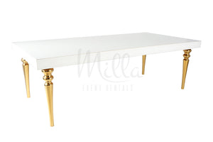 Alexa White Table 4x8 Gold Legs