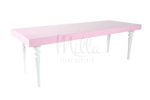 Alexa Pink 4x8 Table White Legs