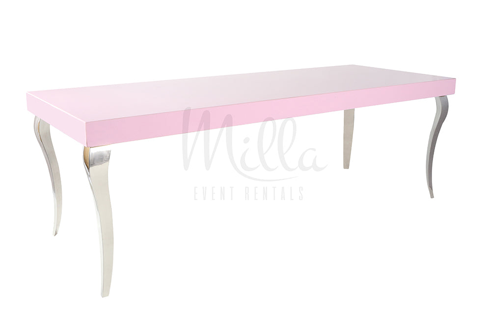 Alexa Pink 4x8 Table Silver Legs