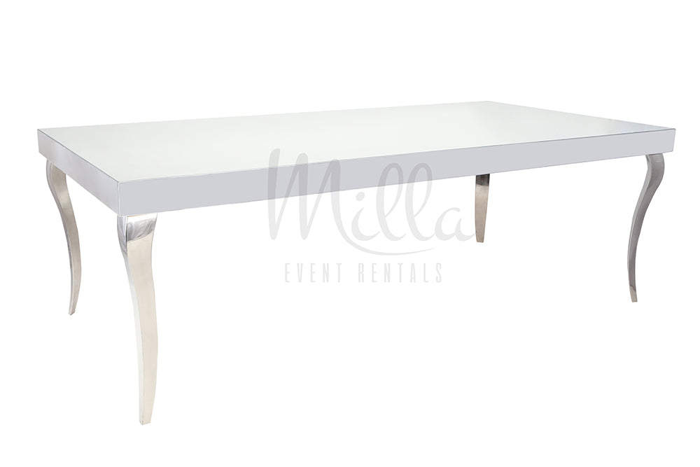 Alexa Mirror Table 4x8 Silver Legs