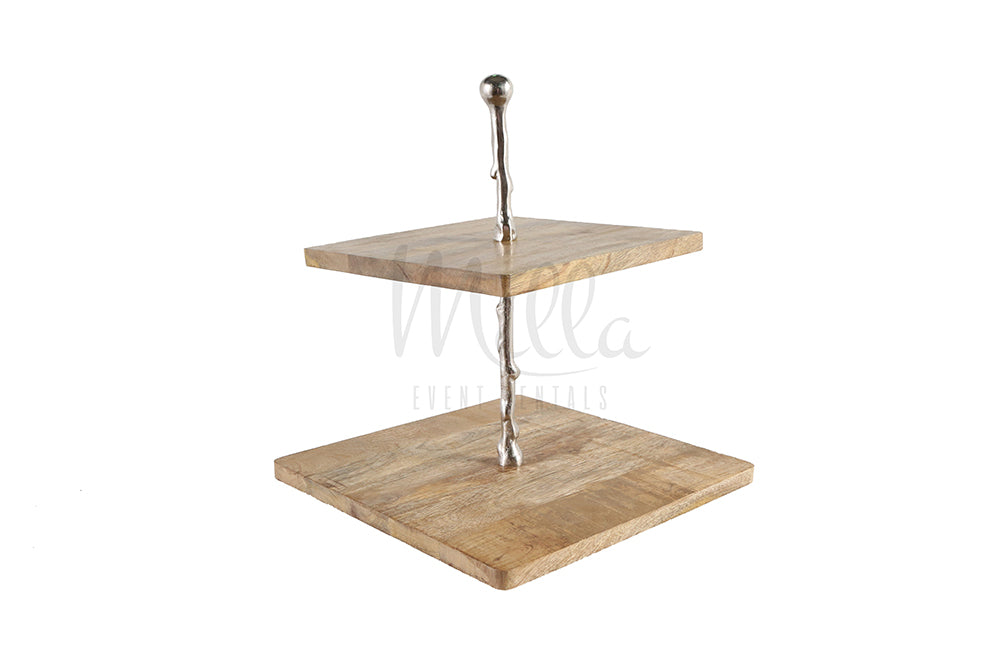 Two Tiered Stand Wood