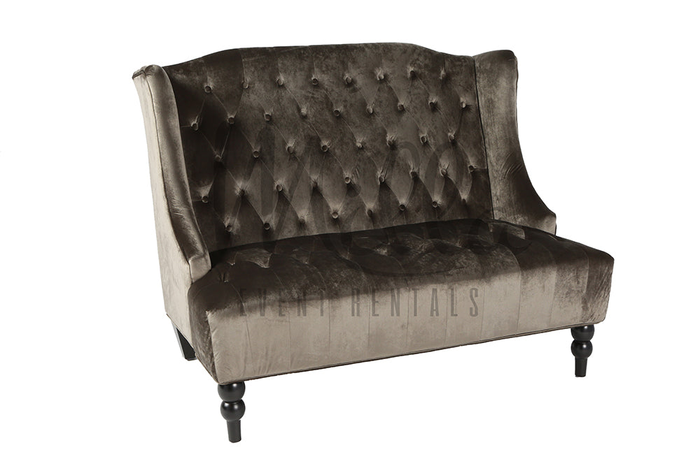 Grey Becah Loveseat Emerald