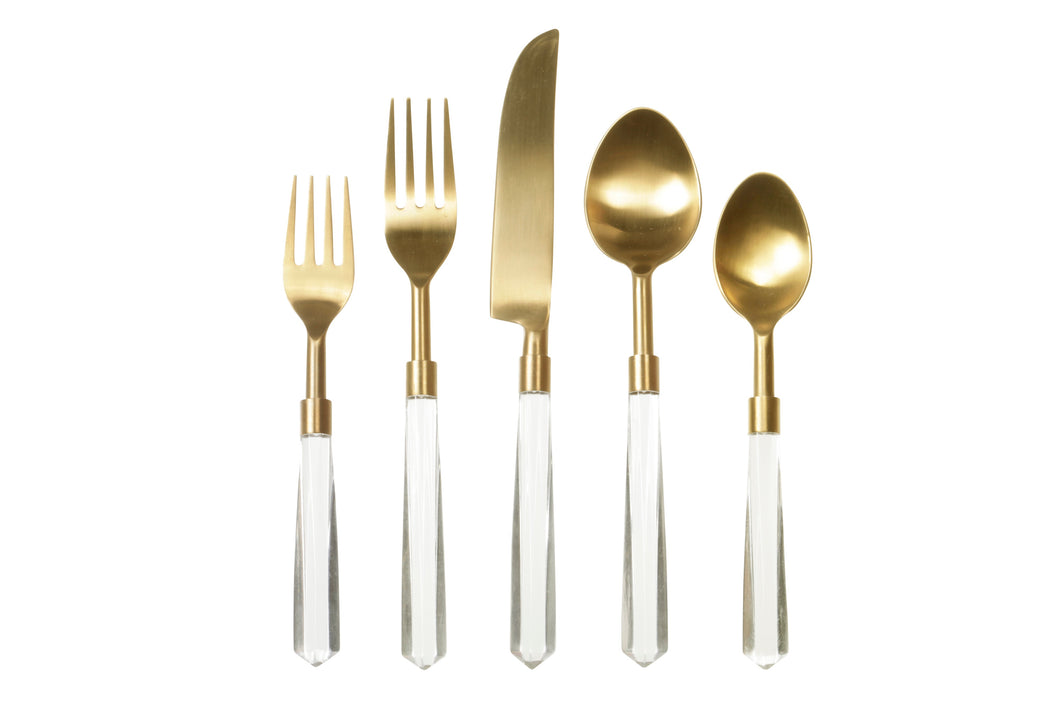 Clear and Gold Flatware