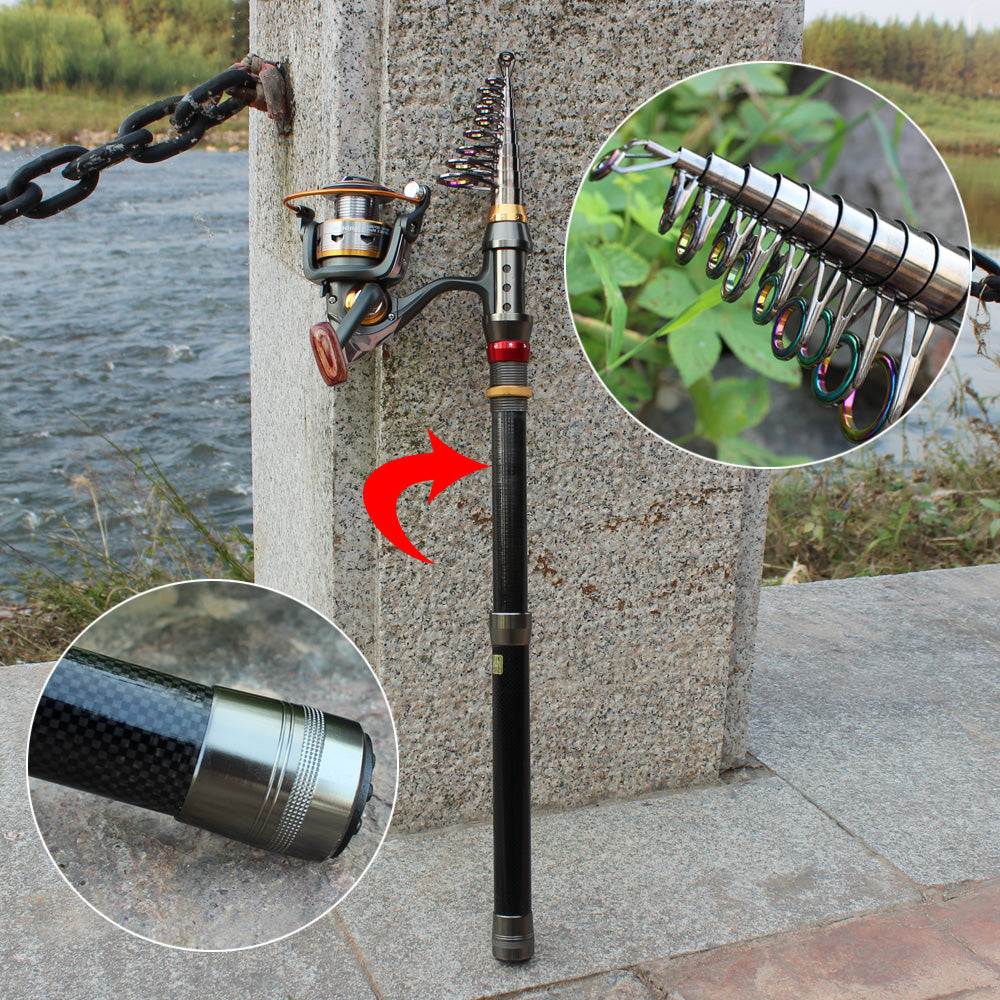 Telescopic Fishing Rod and Spinning Fishing Reel