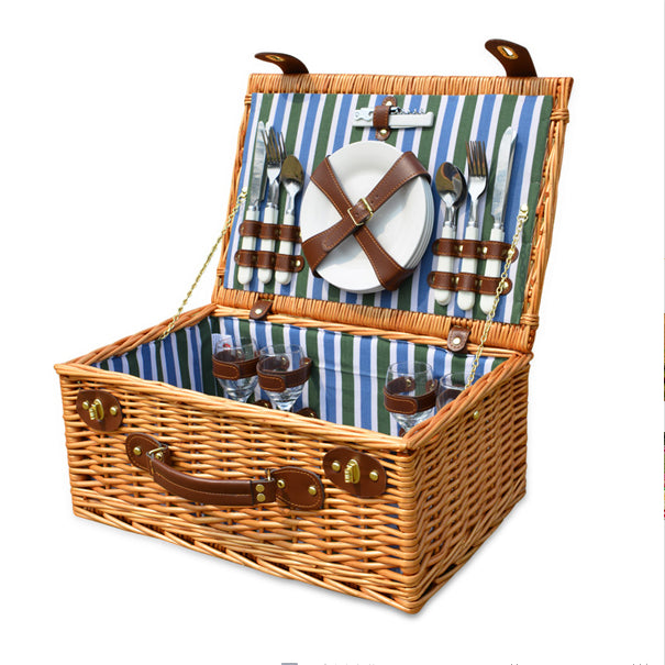 Wicker Basket Set for 4 Persons Picnic Party