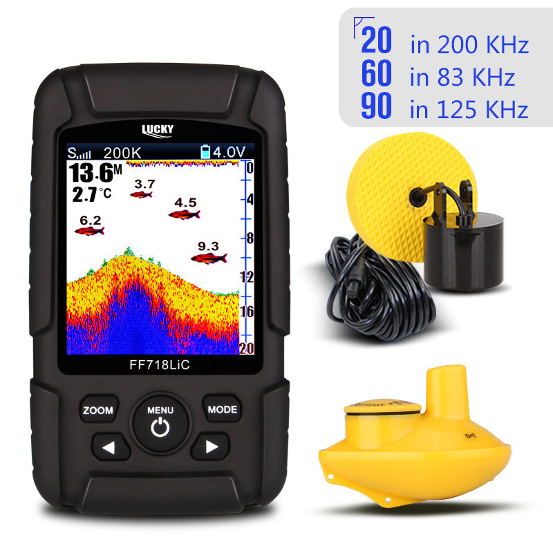 "200KHz/83KHz 45-100M Dual Frequency 2 in 1 Fish Finder 2.8"" Color LCD"