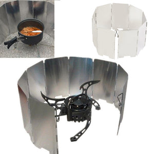 Foldable Mini 9 Plates Cooker BBQ Gas Stove Wind Shield