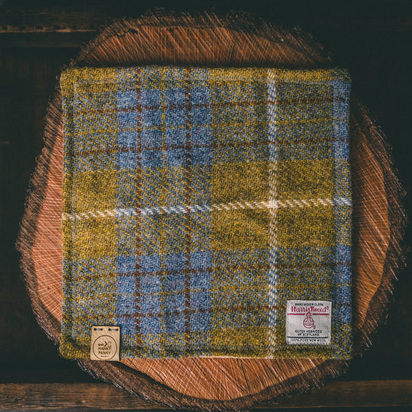 Blue and Yellow Tartan Harris Tweed Handkerchief