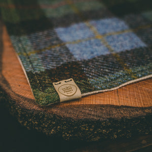 Green and Brown Tartan Harris Tweed Handkerchief