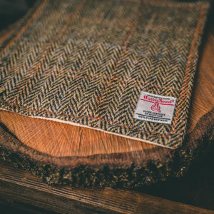 Brown Herringbone Harris Tweed Handkerchief