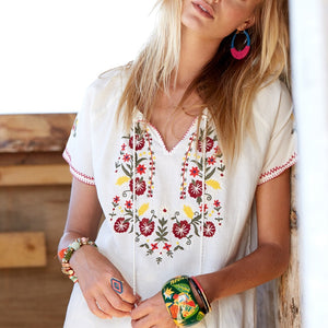 2095 - Floral Embroidery Blouse Short Wild Tie In Fronts With Tassel