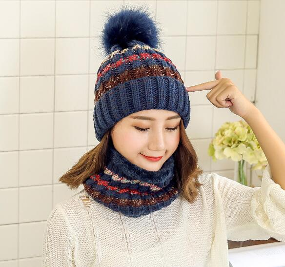 ad33a1fa92b Woman Knit Beanie Hat and Scarf Set Hairball Pom Pom Hats Female Thick Hat  2pcs Winter
