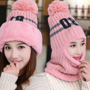 7613 - Knitted Warm Hat Scarf Set