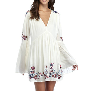 2012 - Floral Embroidery Long Flare Sleeve Mini Dress
