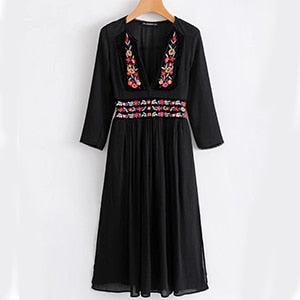 2010 - Floral Embroidery Dress Long Sleeve Gypsy