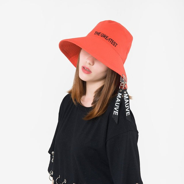c5bb0ab7326 ... Brim Bucket Hats. Ymsaid 2018 Fashion Personality Female Ribbon Letter  Basin Cap Summer And Spring New Flat Top Big