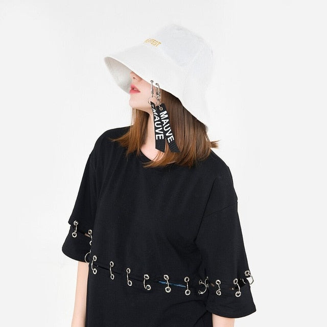5c2578a6c50 Ymsaid 2018 Fashion Personality Female Ribbon Letter Basin Cap Summer And  Spring New Flat Top Big