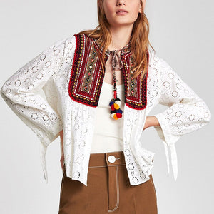 3041 - Pure Cotton Ethic Embroidered Bib Front Boho Tassels Top