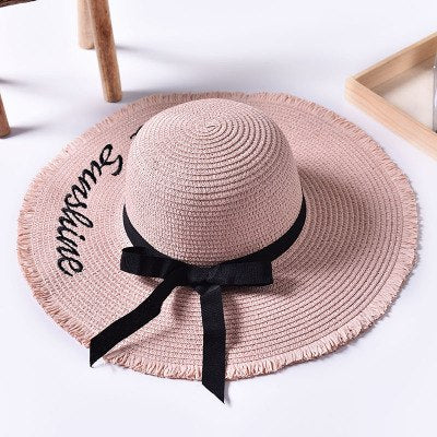 6d6b528f3974b Ymsaid Wide Brim Sun Hats For Women Letter Embroidery Black Bow Panama  Straw Hat Folded Floppy