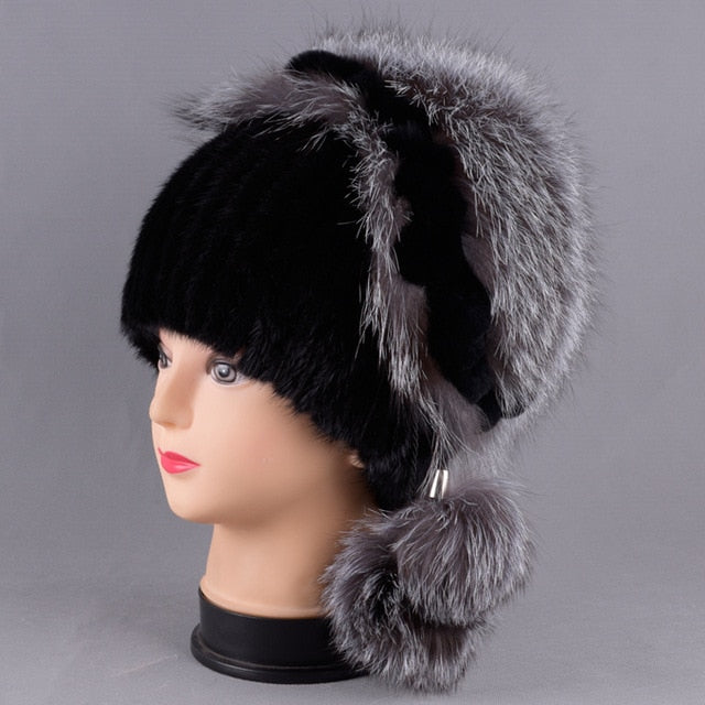 db76e466e8585 7556 - Hand Knitted Mink Fur Hat with Fox Round Fur – Mystic Pulchritude
