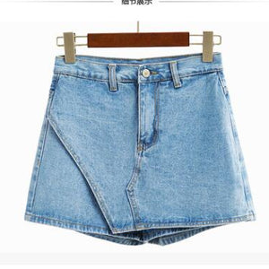 4109 - High Waist Skirt & Slim Denim Shorts
