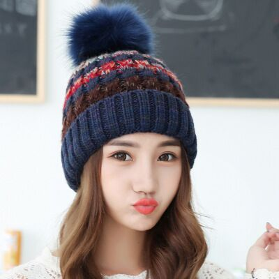 a1fc982f9ed Woman Knit Beanie Hat and Scarf Set Hairball Pom Pom Hats Female Thick Hat  2pcs Winter