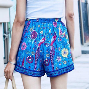 4108 Boho Floral Printed High Waisted Shorts