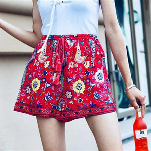 4104 - Boho Floral Printed High Waisted Shorts