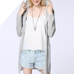 3055 - Knitted Casual Hooded Cardigan