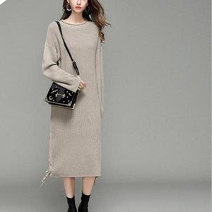 3056 - Long-Style Knitted Street-Wear Sweater