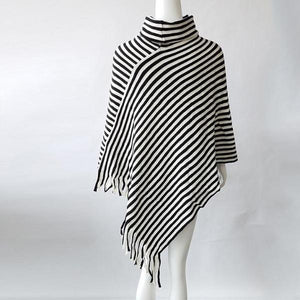 3052 - Oblique Striped Knitted Cloak Shawl