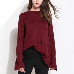 3199 - Knitted Loose Pullover with Flare Sleeves