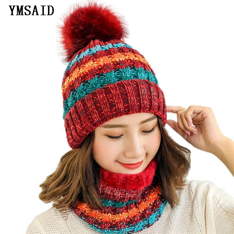 2fa9e8ab694 Woman Knit Beanie Hat and Scarf Set Hairball Pom Pom Hats Female Thick Hat  2pcs Winter
