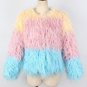 5074 - Faux Fur 2-Color Jacket