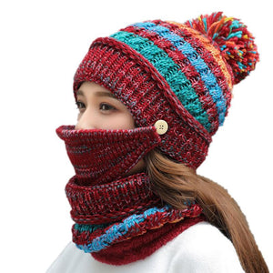 7615 - Wool-Blended Balaclava 3 Pc Set